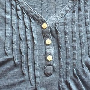 Lucky Brand Blue Long Sleeve Top with Pin-Tucks M